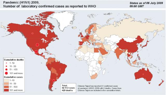 H1N1 pandemic map